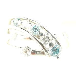 ブルーダイヤモンドリング PT900プラチナ トータル0.5...