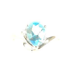 ブルートパーズリング PT900プラチナ 大粒 指輪 一粒 11月誕生石 ペアシェイプ