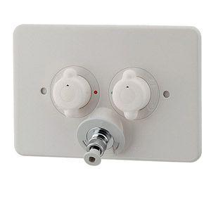 カクダイ 洗濯機用蛇口 [壁][2ハンドル混合水栓][洗濯機用混合栓(天井配管用)][一般地] 127-105|jyusetu