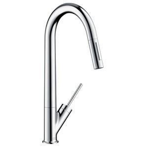 CERA キッチン用湯水混合栓[ハンスグローエ][アクサースタルク][スパウト引出しタイプ][整流/スプレー][クロム] HG10821|jyusetu