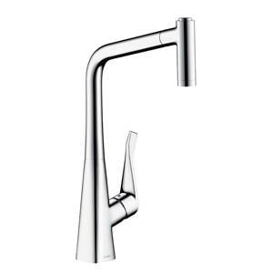 CERA キッチン用湯水混合栓[ハンスグローエ][メトリス][スパウト引出しタイプ][整流/スプレー][クロム] HG14820|jyusetu