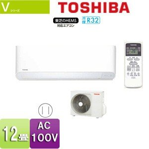 TOSHIBA ルームエアコン[E-Vシリーズ][100V][12畳][3.6kW][2018モデル] RAS-3658V(W)+RAS-3658AV jyusetu