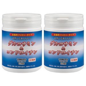 サプリメント グルコサミン & コンドロイチン (ファミリーボトル) 2本セット (1本あたり1440粒) - ほほえみ元気クラブ k-1ba