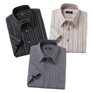 綿100%しじら織り 清涼7分袖シャツ 3色組 - ダンディクラブ k-1ba