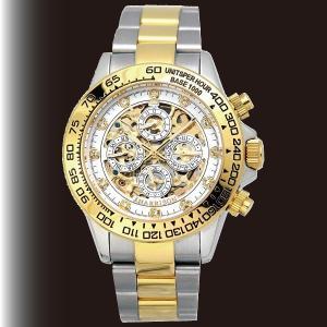 英国デザイン 多機能スケルトン時計 ホワイト|k-1ba