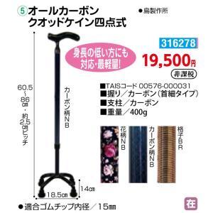 歩行 多点杖 オールカーボン クオッドケイン四点式 - 東京山海堂|k-1ba