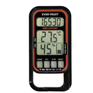 歩数計 時間 距離 紫外線計測 熱中症歩数計 黒 - 熟年時代社 ペガサス ショップ|k-1ba