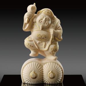 招福開運 大黒天 仏像彫刻 木製 木彫り彫刻|k-1ba