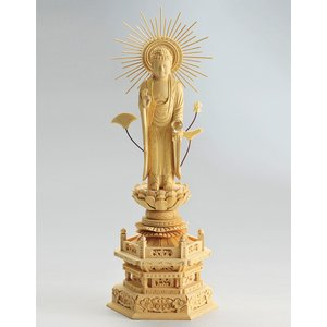 宗派別開運御仏像 開運 阿弥陀如来像 東型 仏像彫刻 木製 木彫り彫刻|k-1ba
