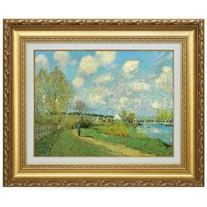 シスレー 複製名画 シスレー「川のある風景」 美術品 レプリカ k-1ba