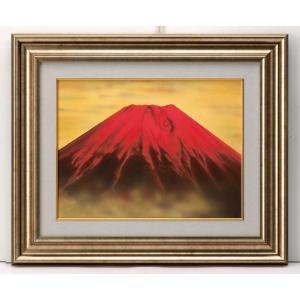 金運赤富士 F6号 肉筆日本画 美術品 レプリカ k-1ba