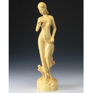 本黄楊 『誘い』 葉偉混 美術品 インテリア 彫刻