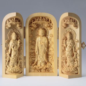金彩阿弥陀三尊 仏像彫刻 木製 木彫り彫刻|k-1ba