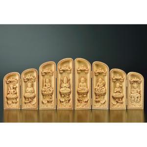 黄楊細密彫 八尊仏仏龕 高仁考 作 仏像彫刻 木製 木彫り彫刻|k-1ba