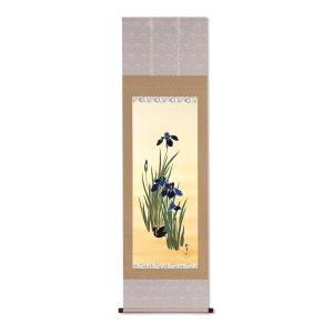 掛軸 春 複製掛軸 酒井抱一 「十二か月花鳥図」 五月 「燕子花に鷭図」 - アートの友社|k-1ba