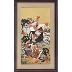 群鶏図 (伊藤若冲『動植綵絵』複製額装・掛軸コレクション)  若冲作品に多く描かれている題材の鶏。今...