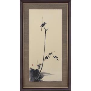 宮本武蔵 枯木鳴鵙図 複製絵画 額装 美術品 レプリカ k-1ba