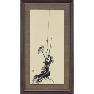 宮本武蔵 紅梅鳩図 複製絵画 額装 美術品 レプリカ k-1ba