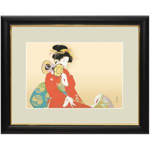 上村松園 作品 「鼓の音」 額装 壁掛け インテリア - アートの友社 k-1ba