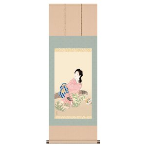 上村松園 朝顔 娘深雪 掛軸 掛け軸 - アートの友社 k-1ba