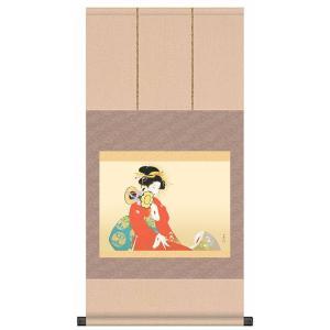 上村松園 作品 「鼓の音」 掛軸 インテリア - アートの友社|k-1ba