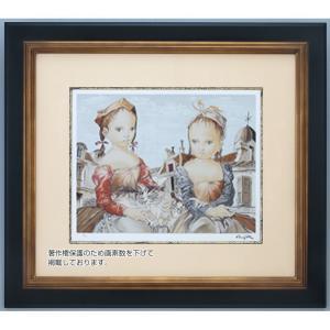 猫と二人の少女 藤田嗣治 シルクスクリーン版画 - アートの友社 k-1ba