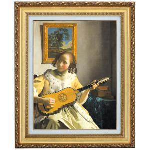 立体複製名画 フェルメール「ギターを弾く女」F4号 - アートの友社|k-1ba