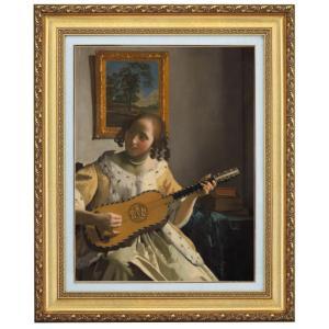 フェルメール ギターを弾く女 F10号 立体複製名画 美術品 レプリカ - アートの友社|k-1ba