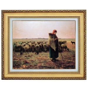 ミレー 羊飼いの少女 F10号 立体複製名画 美術品 レプリカ - アートの友社|k-1ba