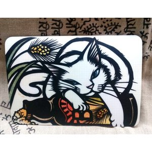 マウスパッド(大) /切り絵・cut art さとうみよ/琥珀の時-2017 白猫とビール|k-2climb