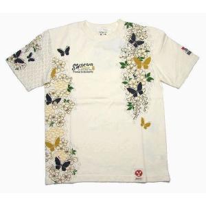 【SALE】粋狂 /すいきょう 花蝶図 抜染半袖TシャツSYT-124|k-2climb