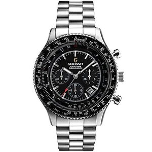 ギオネ 腕時計 フライトタイマー パイロットクロノグラフ FT42SBK