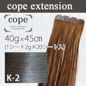 シールエクステ 人毛100% 40g(1シート2g×20)45cm 【K-2】ブラック|k-brand