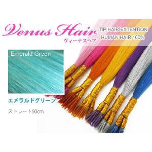 【送料無料】ヴィーナスチップ 人毛チップ式エクステ 50cm/30本【エメラルドグリーン】|k-brand
