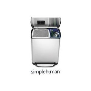 CW2007 シンプルヒューマン ステンレス(分別タイプ) レクタンギュラーステップカンリサイクラー46L(30L+16L)|k-direct2