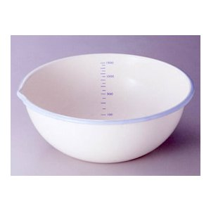 富士ホーロー 計量できるかわいい ホーロー ボール 20cm 1.7L クリーム&スカイブルー|k-direct2