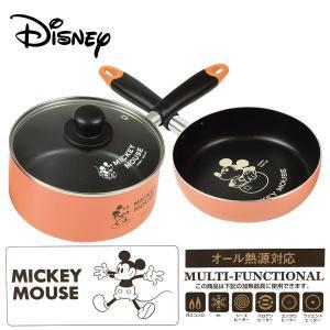 ディズニー ふっ素加工IH対応 鍋・フライパン・ガラス蓋3点セット 18cm (ミッキーマウス/ヴィンテージ) WD-9067|k-direct2