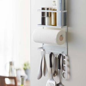 送料無料 マグネット冷蔵庫サイドラック タワー ホワイト 2744|k-direct2