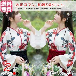 大正ロマン 袴 和服 着物 ドレス ロング 花柄 ロリータ ロリィタ服 ゆったり 大きめ かわいい ...