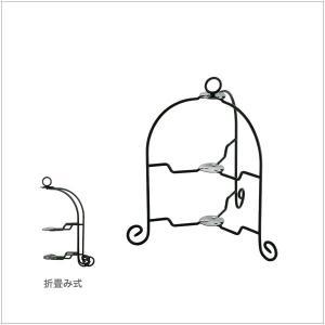 カジュアルプロダクト(CP) ドルチェ フォールダブルケーキスタンド2段 BK k-koubou