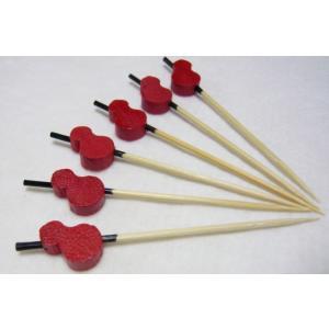 飾り串 ひょうたん(10本入)赤7.5cm|k-koubou
