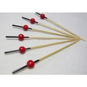 珠かんざし串(10本入)赤 7.5cm|k-koubou