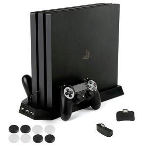 PS4 Pro 専用 縦置きスタンド PECHAM ファン付 置くだけ コントローラ充電スタンド2台...