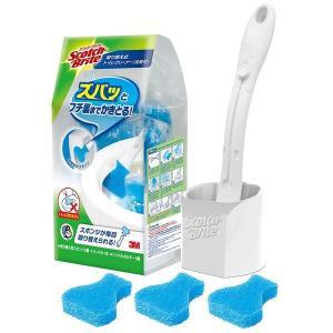 トイレブラシ 3M スコッチブライト 取り替え式トイレクリーナー洗剤付(取替えスポンジ 3個入り)  T-557-3HC トイレ清掃 清掃用品 スリーエム 4548623492247|k-mori