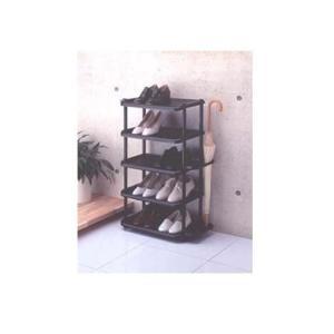 吉川国工業所 シューズラック ワイド5段 BK(ブラック)(靴10足・傘5本が収納出来る)|k-mori