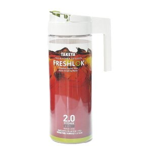 TAKEYA タケヤ化学工業 麦茶ポット 耐熱 フレッシュロック ピッチャー 2.0L ホワイト 冷水筒 ピッチャー ウォータージャグ 用品 テーブルウェア 4904776139826|k-mori