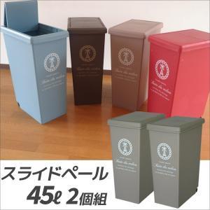 ゴミ箱 平和工業 スライドペール45L ベージュ 2個組 分別ゴミ箱 プラスチック 分別ダストボックス おしゃれ 日本製 4907556206121-002|k-mori