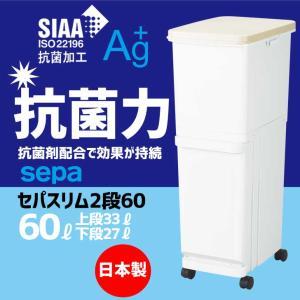 分別ゴミ箱 ●新輝合成 セパ スリム2段60 容量:60L(上段33L+下段27L) 分別 ペール ゴミ箱 生ごみ ゴミ袋 館型 TONBO 清掃の写真