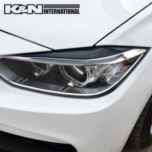 カーボン柄 BMW 3シリーズ F30 F31 セダン ツーリング アイライン ヘッドライトカバー 左右set USDM オススメ 両面テープ付き 柔らかいゴムの様な素材|k-n-int|03