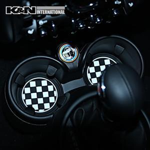 チェッカーフラッグ 白黒格子 ドリンクホルダー マット 2個set コースター 車内 インテリア 雑貨 BMW F30 F31 ミニ MINI アメ車 FJクルーザー|k-n-int|03